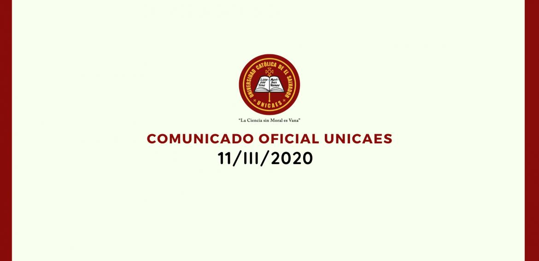 COMUNICADO OFICIAL UNICAES 11/III/2020